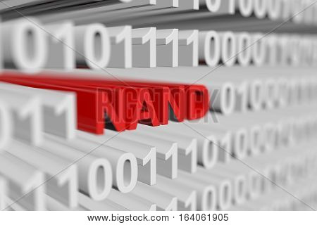 NAND as a binary code with blurred background 3D illustration