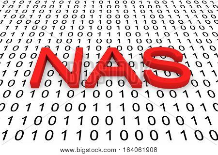 NAS in the form of binary code, 3D illustration