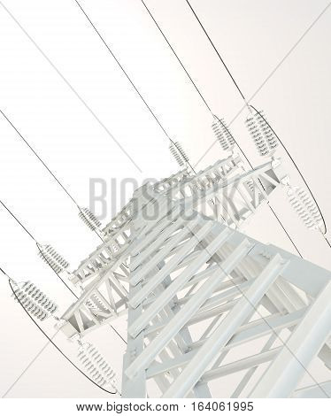 Power Transmission Line. High voltage post. 3D illustration