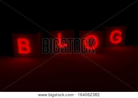 BLOG is presented in the form of a neon glow 3d illustration