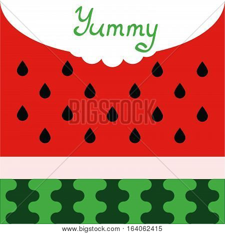 Water melon vector cartoon background with word