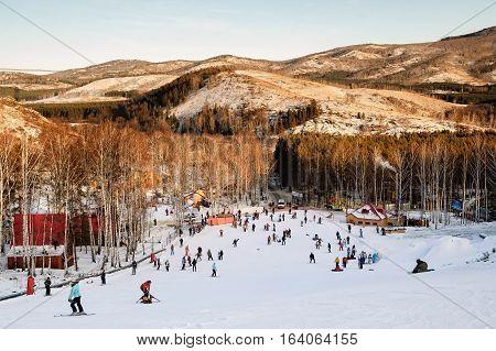 Abzakovo, Russia - December 31, 2007: Ski center of Abzakovo. People ride an educational slope