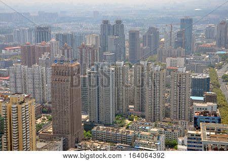 NANJING, CHINA - AUG. 6, 2012: Aerial view of Skyscrapers in Nanjing City center (South), viewed from Xinjiekou CBD, Nanjing, Jiangsu Province, China.