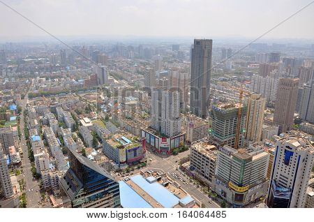NANJING, CHINA - AUG. 6, 2012: Aerial view of Nanjing City center skyline (Southeast), viewed from Xinjiekou CBD, Nanjing, Jiangsu Province, China.