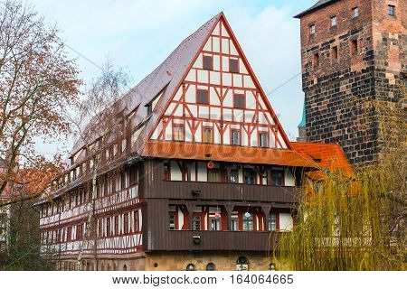 City view of Nuremberg, Franconia with half-timbered houses in Bavaria