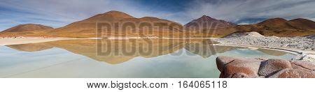 Panorama at Pierdras Rojas Atacama desert Chile