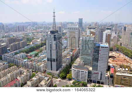 NANJING, CHINA - AUG. 6, 2012: Aerial view of Nanjing City center skyline (West), viewed from Xinjiekou CBD, Nanjing, Jiangsu Province, China.