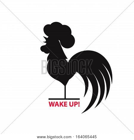 Silhouette of the cock on white background.