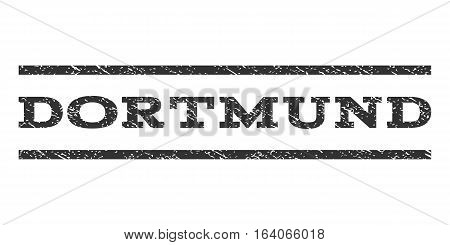 Dortmund watermark stamp. Text caption between horizontal parallel lines with grunge design style. Rubber seal gray stamp with dust texture. Vector ink imprint on a white background.