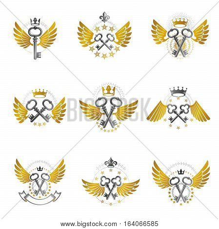Old Turnkey Keys emblems set. Heraldic vector design elements collection. Retro style label heraldry logo.