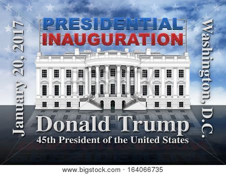 The United States Presidential Inauguration of Donald Trump commemorated in text and illustration of the White House against a flag background.