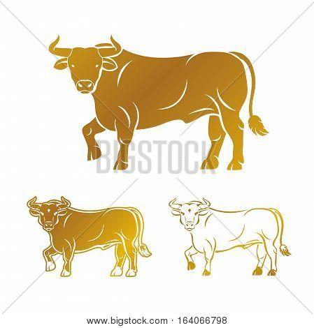 Bull ancient emblems elements set. Heraldic vector design elements collection. Retro style label heraldry logo.