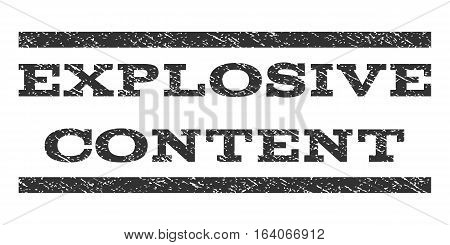 Explosive Content watermark stamp. Text tag between horizontal parallel lines with grunge design style. Rubber seal gray stamp with dirty texture. Vector ink imprint on a white background.