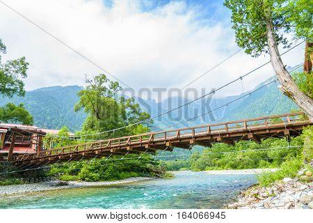 Hotaka Mountain And Kappa-bashi Bridge In Kamikochi, Nagano, Japan