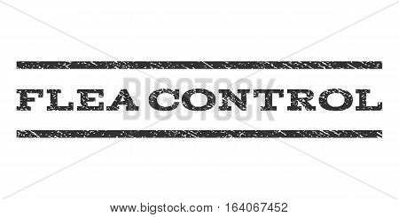 Flea Control watermark stamp. Text tag between horizontal parallel lines with grunge design style. Rubber seal gray stamp with dust texture. Vector ink imprint on a white background.