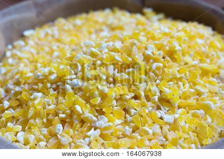 Close up view of pile of corn groat