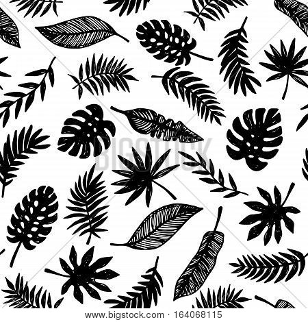 Tropical Leaves seamless pattern, modern hand drawn nature foliage, black on white. Summer Hawaii jungle exotic plants, textile print, clothes, wallpaper, wrapping paper. Trendy surface design