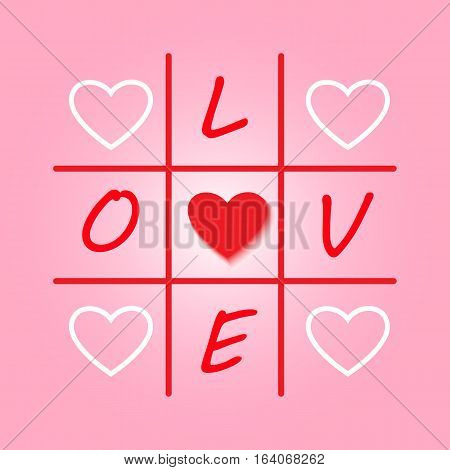 Valentines day original pink card with tic-tac-toe design. Vector illustration for congratulation.