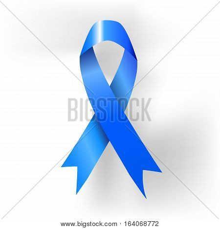 Prostate cancer awareness blue ribbon poster. Vector