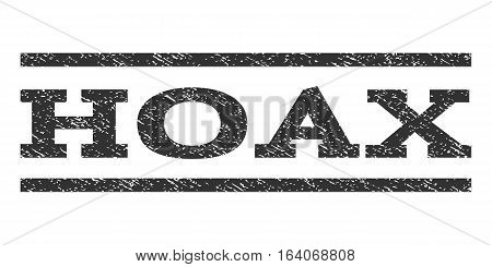 Hoax watermark stamp. Text tag between horizontal parallel lines with grunge design style. Rubber seal gray stamp with dirty texture. Vector ink imprint on a white background.