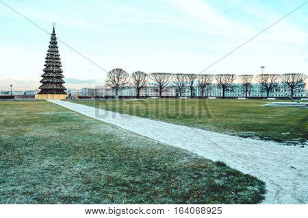 SAINT-PETERSBURG, RUSSIA - december 2015: Winter view of the new year tree in the central city. Famous Vasilevsky islands, Merry Christmas.
