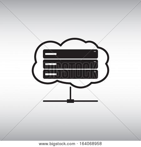 On line server flat vector icon. Isolated cloud server vector sign. Data center symbol. Cloud service pictogram. On-line data storage icon.
