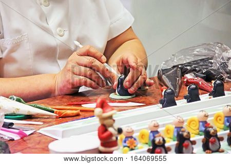 Marzipan Figurines, The Process Of Making Sweet Decorations For Cakes And Pies, Female Hands,