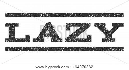 Lazy watermark stamp. Text tag between horizontal parallel lines with grunge design style. Rubber seal gray stamp with dust texture. Vector ink imprint on a white background.