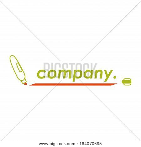 Marker, colored, draftsman, scribe, school and accounting logo