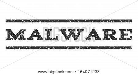 Malware watermark stamp. Text caption between horizontal parallel lines with grunge design style. Rubber seal gray stamp with unclean texture. Vector ink imprint on a white background.