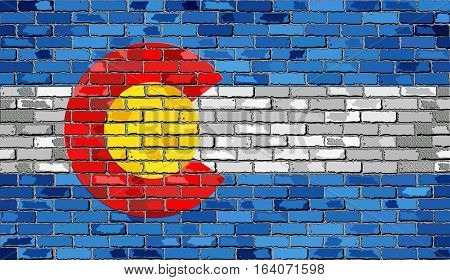 Flag of Colorado on a brick wall with effect - 3D Illustration,  The flag of the state of Colorado on brick textured background,  Colorado Flag in brick style