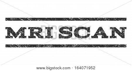 MRI Scan watermark stamp. Text caption between horizontal parallel lines with grunge design style. Rubber seal gray stamp with unclean texture. Vector ink imprint on a white background.