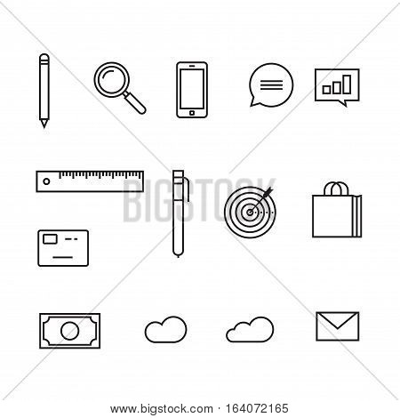 Analytics icons vector illustration, set of sketch line outline style icons, finance or statistics pictograms, pen, magnifier, mobile phone, chart, money, target, cloud, credit card, envelope isolated