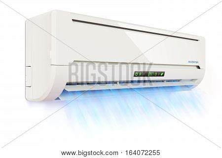 Air conditioner indoor unit with the cold air flow isolated on white background 3d