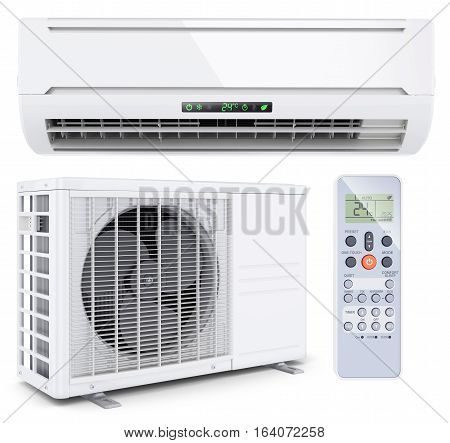 Air conditioner split system with remote controller isolated on white background 3d