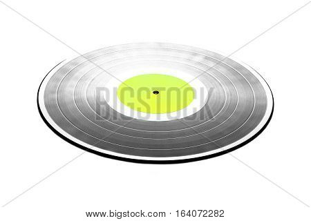 Black LP record with green label isolated on white closeup