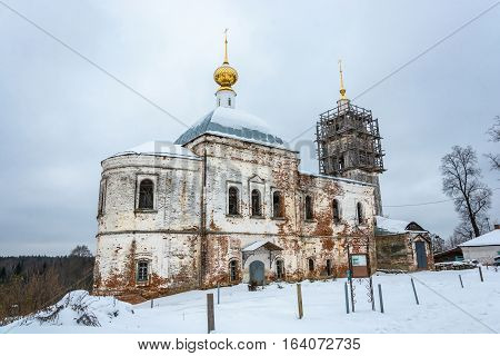 Ancient temple of the Kazan icon of the Mother of God in the village Berezovik Teykovo district of Ivanovo oblast Russia.