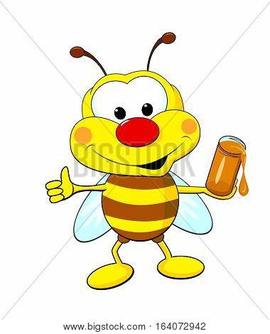Funny cartoon bee holding a jar of honey.