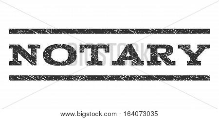 Notary watermark stamp. Text caption between horizontal parallel lines with grunge design style. Rubber seal gray stamp with dust texture. Vector ink imprint on a white background.