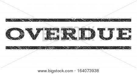 Overdue watermark stamp. Text caption between horizontal parallel lines with grunge design style. Rubber seal gray stamp with dust texture. Vector ink imprint on a white background.