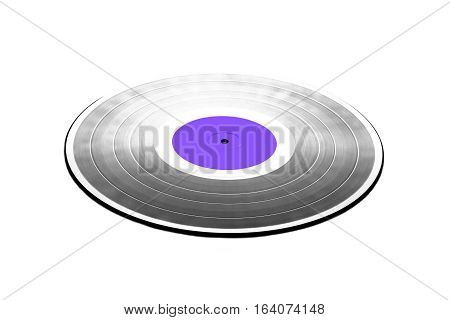 Single black long-play 33RPM vinyl record with purple label isolated on white background. Front view to perspective