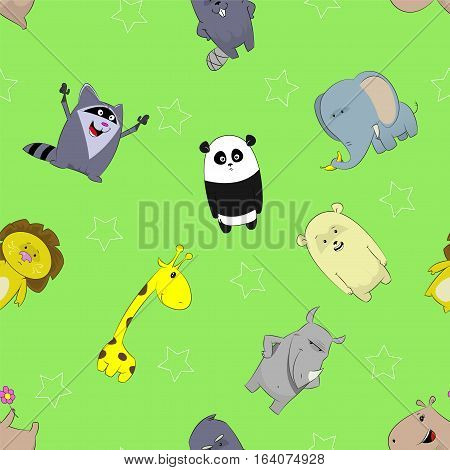 Seamless pattern with cute cartoon giraffe, panda, rhino, lion, beaver, elephant, bear, hippopotamus on green background. Vector image.