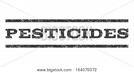 Pesticides watermark stamp. Text tag between horizontal parallel lines with grunge design style. Rubber seal gray stamp with dirty texture. Vector ink imprint on a white background.