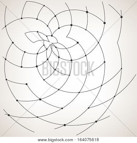 Abstract geometric pattern of the curves, unfinished lines ,nodes, abstract data type