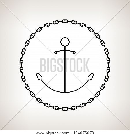 Silhouette anchor and chain, contour of the anchor in the circle of the chain on a light background, black and white illustration
