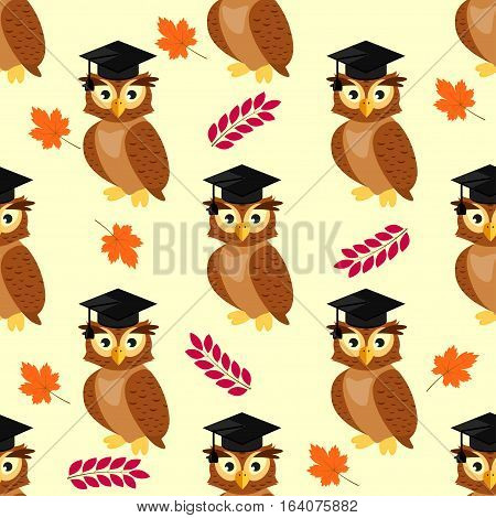 Owls with graduation caps seamless pattern, background