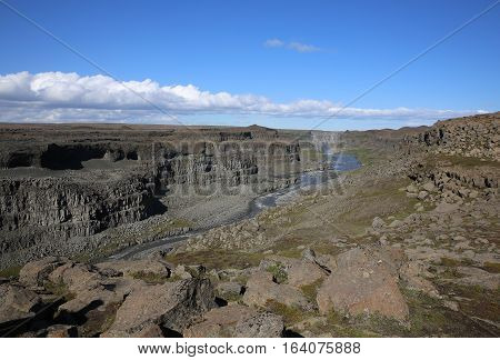 Canoyn at Dettifoss Waterfall in Iceland. Europe