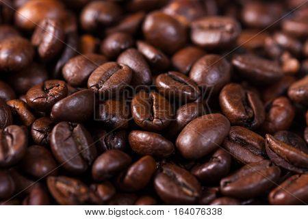 Macro Shut Of A Roasted Coffee Beans - Stock Photo
