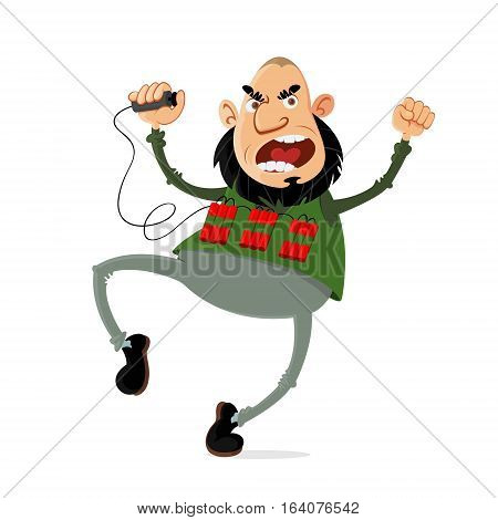crazed terrorist with a suicide belt vector cartoon