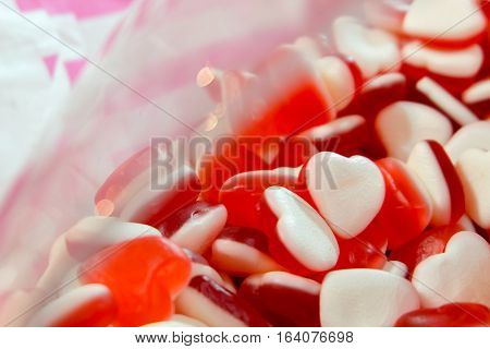Red White Heart Shape Jelly Candy Bonbon Snack Group. Sweet For Valentines Day Background.
